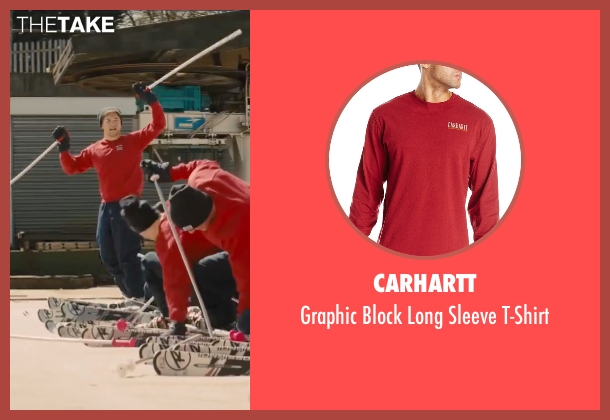 Carhartt red t-shirt from Eddie The Eagle seen with Taron Egerton (Eddie Edwards)