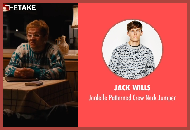 Jack Wills white jumper from Eddie The Eagle seen with Taron Egerton (Eddie Edwards)
