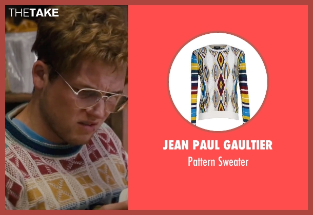 Jean Paul Gaultier white sweater from Eddie The Eagle seen with Taron Egerton (Eddie Edwards)
