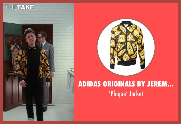 Adidas Originals By Jeremy Scott black jacket from Kingsman: The Secret Service seen with Taron Egerton (Eggsy)