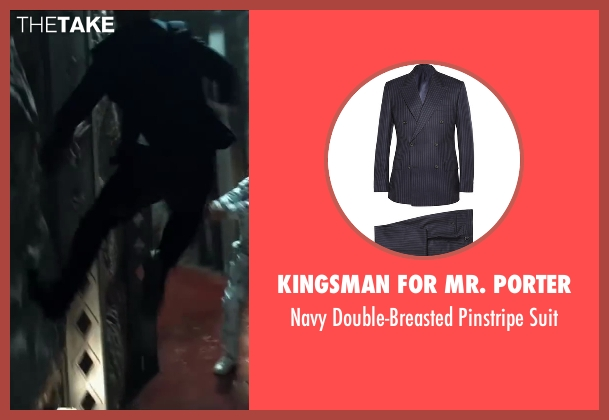 Kingsman for Mr. Porter blue suit from Kingsman: The Secret Service seen with Taron Egerton (Eggsy)