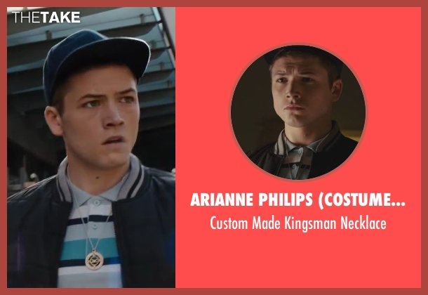 Arianne Philips (Costume Designer) silver necklace from Kingsman: The Secret Service seen with Taron Egerton (Eggsy)