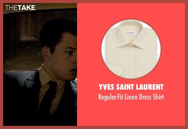 Yves Saint Laurent beige shirt from Legend seen with Taron Egerton (Teddy Smith)
