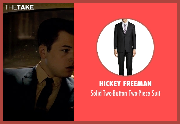 Hickey Freeman black suit from Legend seen with Taron Egerton (Teddy Smith)