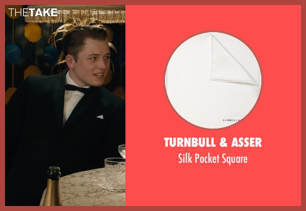Turnbull & Asser white square from Legend seen with Taron Egerton (Teddy Smith)