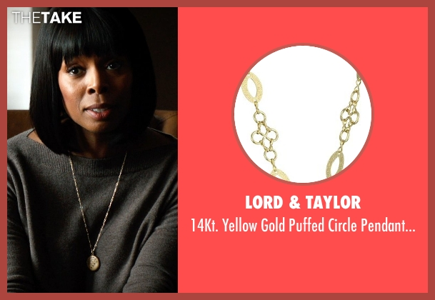 Lord & Taylor gold necklace from Addicted seen with Tasha Smith (Marcella)