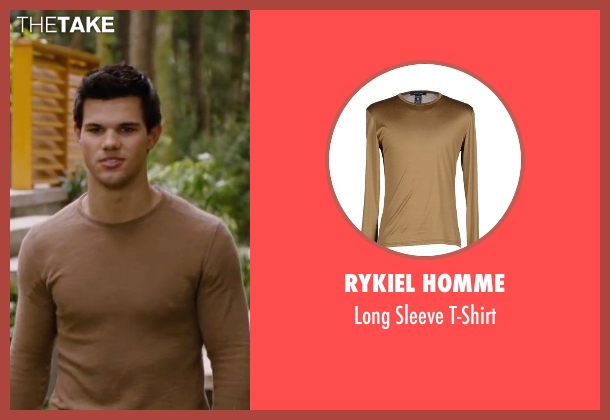 Rykiel Homme beige t-shirt from The Twilight Saga: Breaking Dawn - Part 2 seen with Taylor Lautner (Jacob Black)
