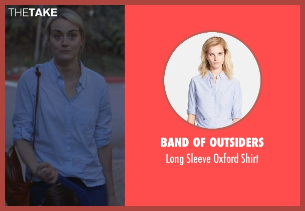 Band of Outsiders blue shirt from The Overnight seen with Taylor Schilling (Emily Hobbs)