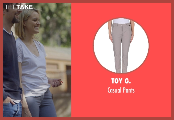 Toy G. gray pants from The Overnight seen with Taylor Schilling (Emily Hobbs)