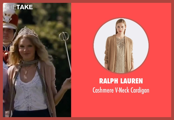 Ralph Lauren beige cardigan from Valentine's Day seen with Taylor Swift (Felicia)