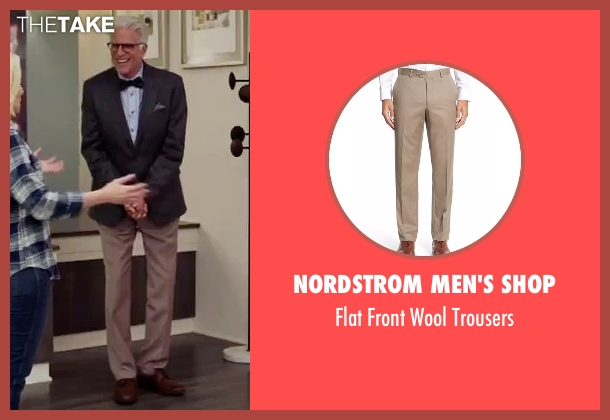 Nordstrom Men's Shop beige trousers from The Good Place seen with Michael (Ted Danson)