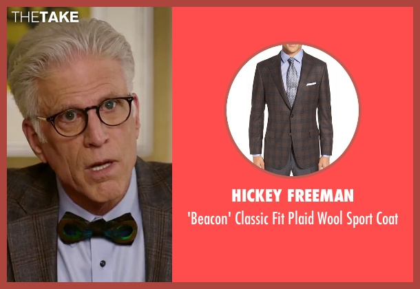 Hickey Freeman brown coat from The Good Place seen with Michael (Ted Danson)