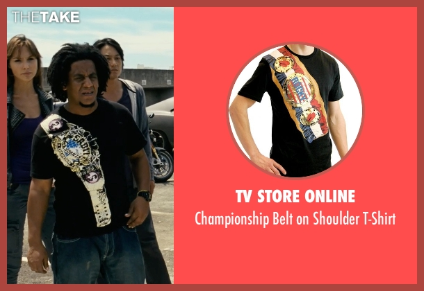 TV Store Online black t-shirt from Fast Five seen with Tego Calderon (Leo)