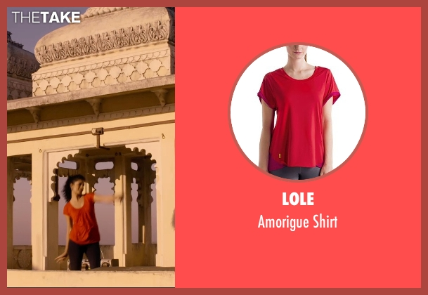 Lole red shirt from The Second Best Exotic Marigold Hotel seen with Tena Desae (Sunaina)