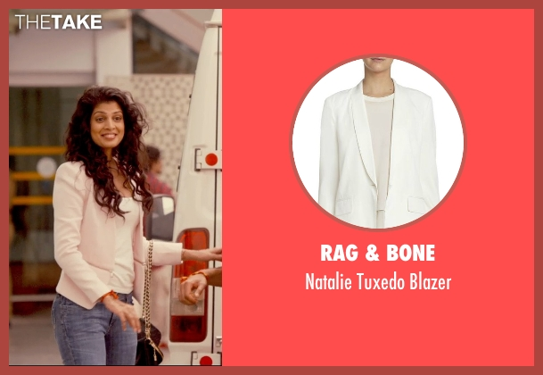Rag & Bone white blazer from The Second Best Exotic Marigold Hotel seen with Tena Desae (Sunaina)