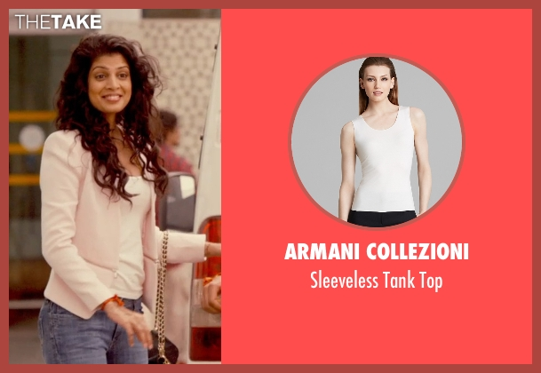 Armani Collezioni white top from The Second Best Exotic Marigold Hotel seen with Tena Desae (Sunaina)