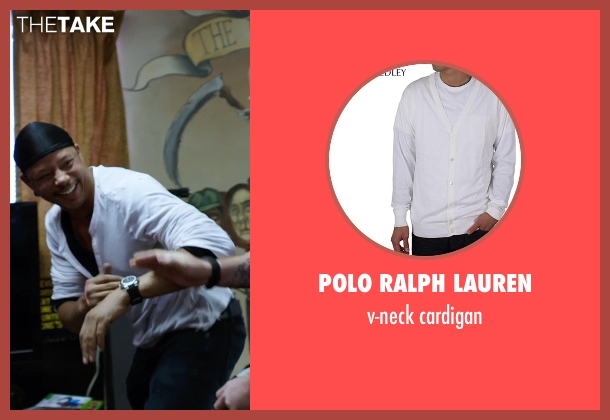 POLO RALPH LAUREN white cardigan from Sabotage seen with Terrence Howard  (Julius 'Sugar' Edmonds)