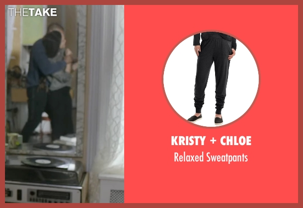 Kristy + Chloe black sweatpants from Creed seen with Tessa Thompson (Bianca)