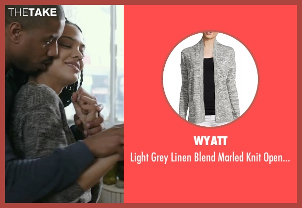Wyatt gray cardigan from Creed seen with Tessa Thompson (Bianca)