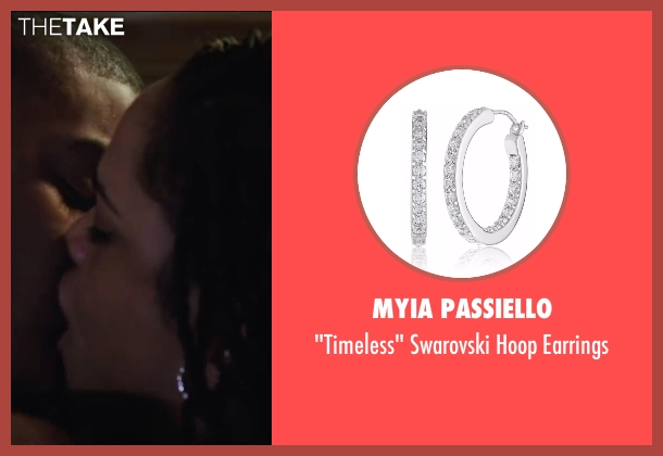 Myia Passiello white earrings from Creed seen with Tessa Thompson (Bianca)