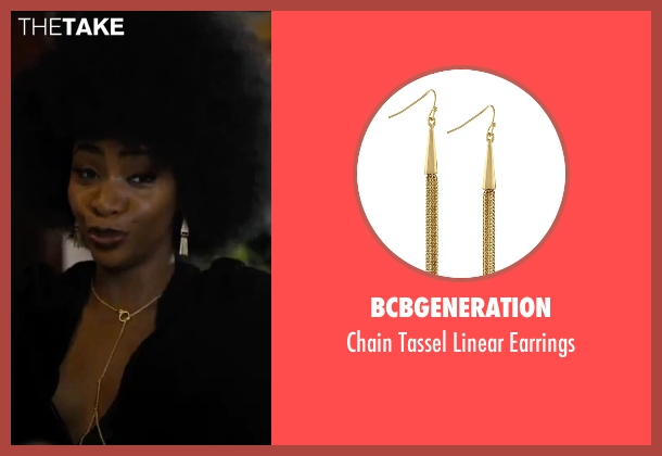 BCBGeneration gold earrings from Chi-Raq seen with Teyonah Parris (Lysistrata)