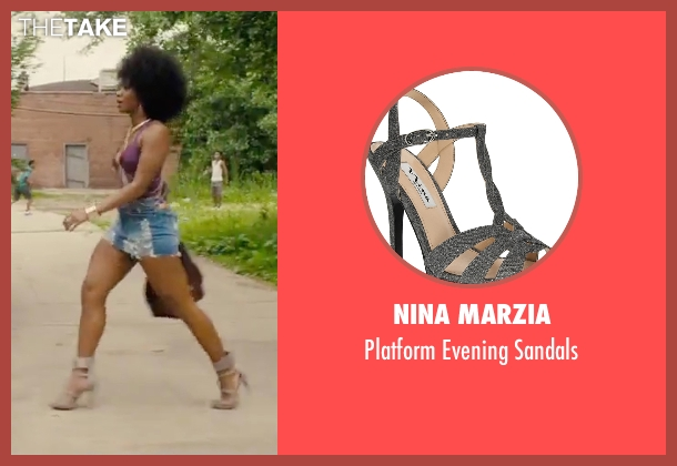 Nina Marzia gray sandals from Chi-Raq seen with Teyonah Parris (Lysistrata)