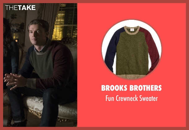 Brooks Brothers green sweater from Scream Queens seen with Thad Radwell (Patrick Schwarzenegger)