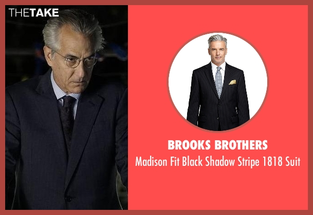Brooks Brothers black suit from The Blacklist seen with The Director (David Strathairn)