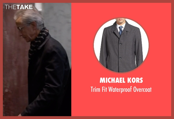 Michael Kors gray overcoat from The Blacklist seen with The Director (David Strathairn)