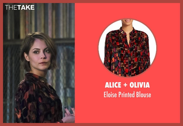 Alice + Olivia black blouse from Arrow seen with Thea Queen / Speedy (Willa Holland)