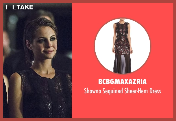 BCBGMAXAZRIA black dress from Arrow seen with Thea Queen / Speedy (Willa Holland)
