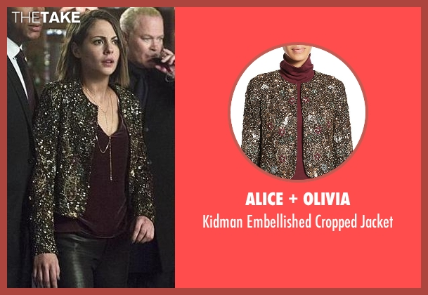 Alice + Olivia black jacket from Arrow seen with Thea Queen / Speedy (Willa Holland)