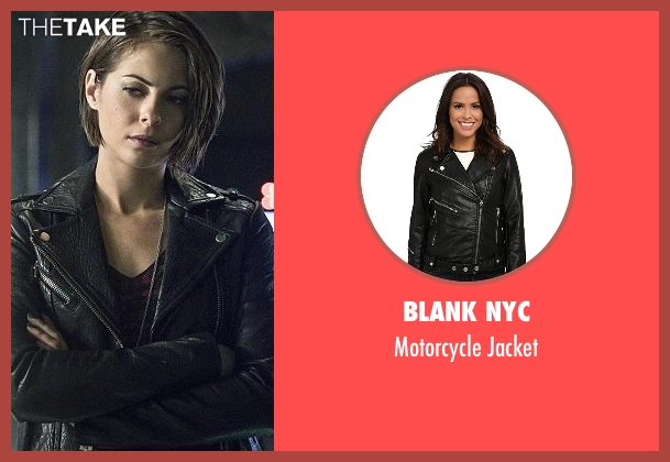 Blank NYC black jacket from Arrow seen with Thea Queen / Speedy (Willa Holland)