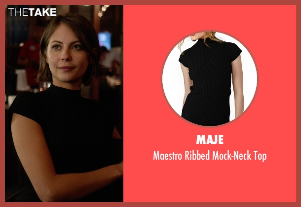 Maje black top from Arrow seen with Thea Queen / Speedy (Willa Holland)