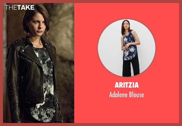 Aritzia blue blouse from Arrow seen with Thea Queen / Speedy (Willa Holland)