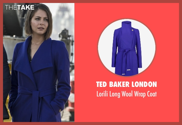 Ted Baker London blue coat from Arrow seen with Thea Queen / Speedy (Willa Holland)