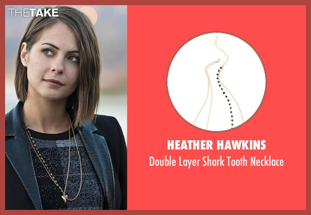 Heather Hawkins gold necklace from Arrow seen with Thea Queen / Speedy (Willa Holland)