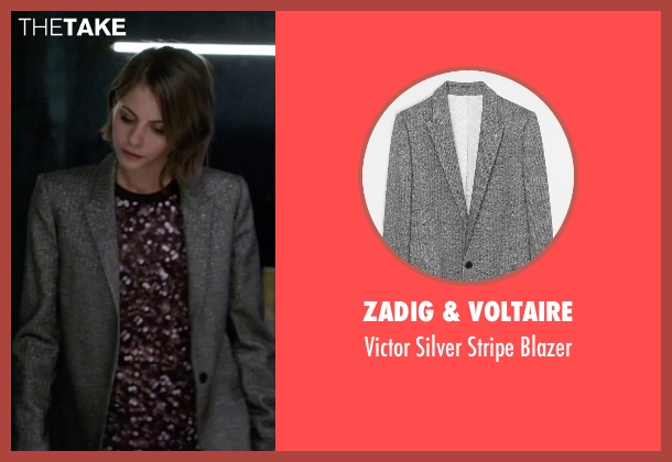 Zadig & Voltaire gray blazer from Arrow seen with Thea Queen / Speedy (Willa Holland)