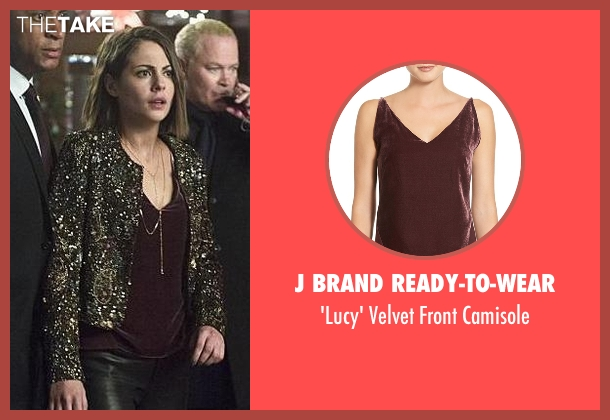 J Brand Ready-To-Wear red camisole from Arrow seen with Thea Queen / Speedy (Willa Holland)