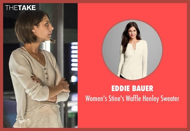 Eddie Bauer white sweater from Arrow seen with Thea Queen / Speedy (Willa Holland)
