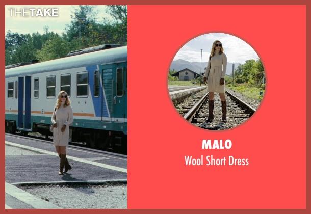 Malo beige dress from The American seen with Thekla Reuten (Mathilde)