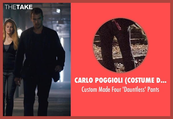 Carlo Poggioli (Costume Designer) black pants from Divergent seen with Theo James (Four)