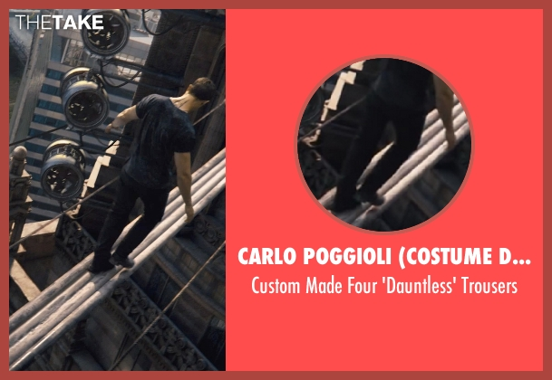 Carlo Poggioli (Costume Designer) black trousers from Divergent seen with Theo James (Four)
