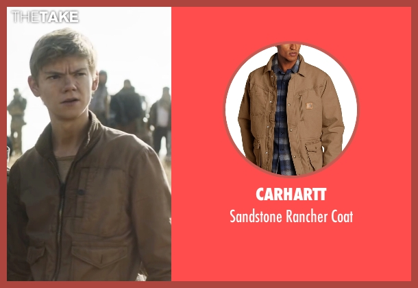 Carhartt brown coat from Maze Runner: The Scorch Trials seen with Thomas Brodie-Sangster (Newt)
