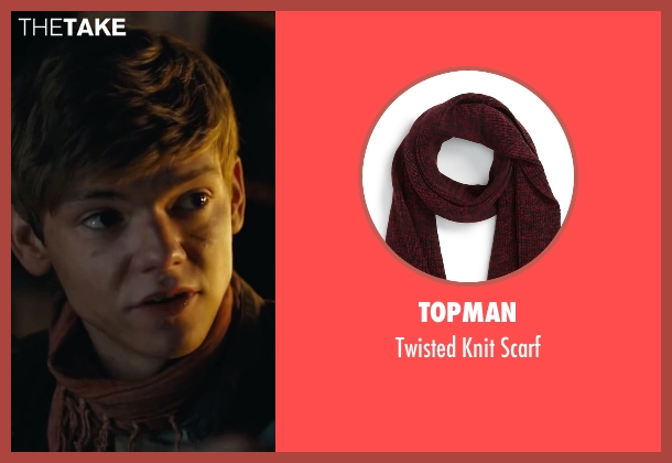 Topman red scarf from Maze Runner: The Scorch Trials seen with Thomas Brodie-Sangster (Newt)
