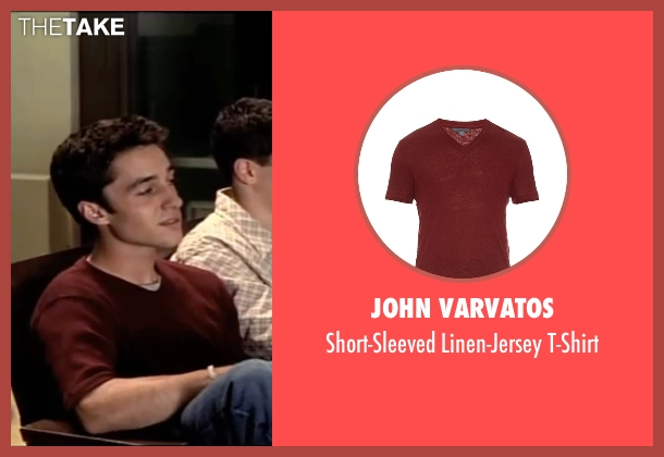 John Varvatos red t-shirt from American Pie seen with Thomas Ian Nicholas (Kevin Myers)