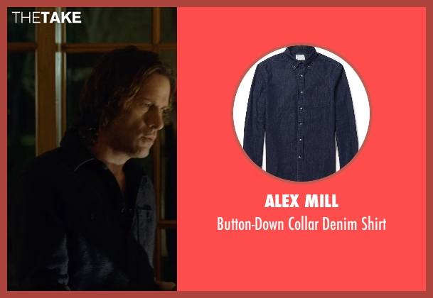 Alex Mill blue shirt from Before I Wake seen with Thomas Jane (Mark)