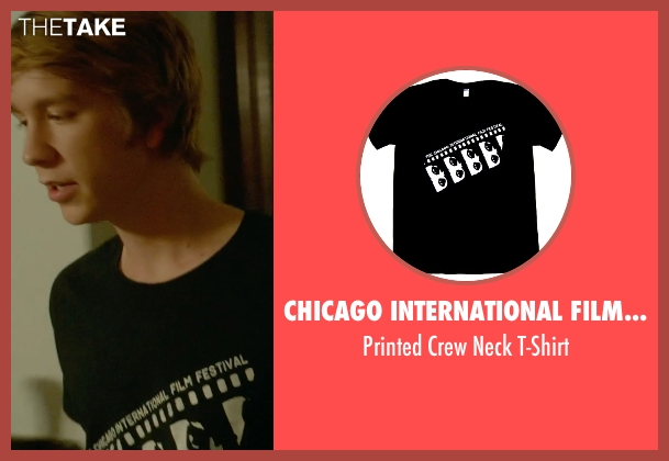 Chicago International Film Festival black t-shirt from Me and Earl and the Dying Girl seen with Thomas Mann (Greg Gaines)
