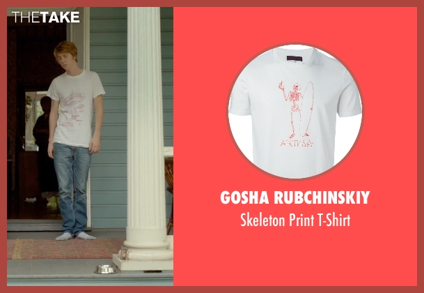 Gosha Rubchinskiy white t-shirt from Me and Earl and the Dying Girl seen with Thomas Mann (Greg Gaines)