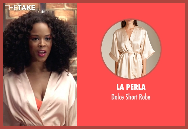 La Perla beige robe from Empire seen with Tiana Brown (Serayah)